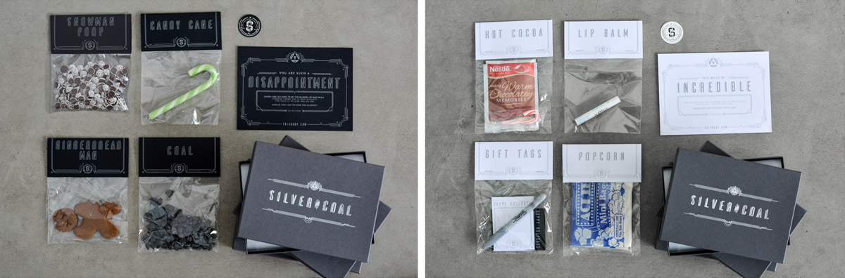 Silve and Coal packaging